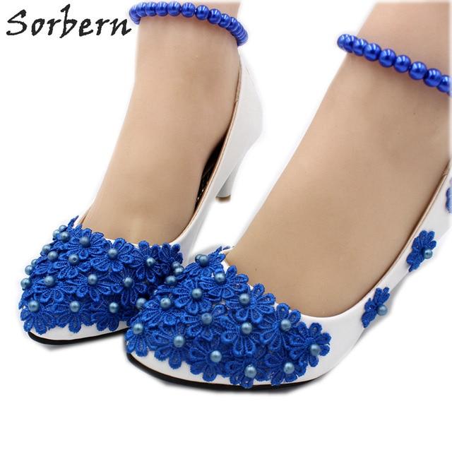 Sorbern Royal Blue Flower Beaded Wedding Shoes Beading Elastic Ankle Straps  Slip On Pump High Heel Ladies Shoes Size 7 Heels a88235d7ef42