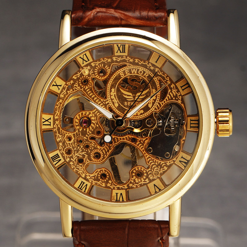 Casual New Fashion SEWOR Brand Skeleton Men Male Military Army Clock Classic Luxury Gold Mechanical Hand Casual New Fashion SEWOR Brand Skeleton Men Male Military Army Clock Classic Luxury Gold Mechanical Hand Wind Wrist Watch Gift