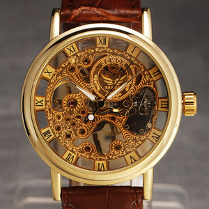 Image 3 - Casual New Fashion SEWOR Brand Skeleton Men Male Military Army Clock Classic Luxury Gold Mechanical Hand Wind Wrist Watch Gift