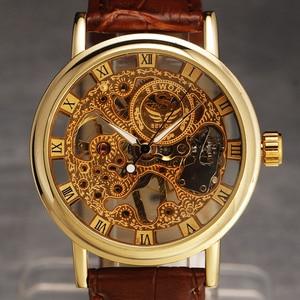 Image 3 - カジュアル新ファッション Sewor ブランドスケルトン男性男性軍の軍隊時計古典的な高級ゴールド機械式ハンド風腕時計ギフト
