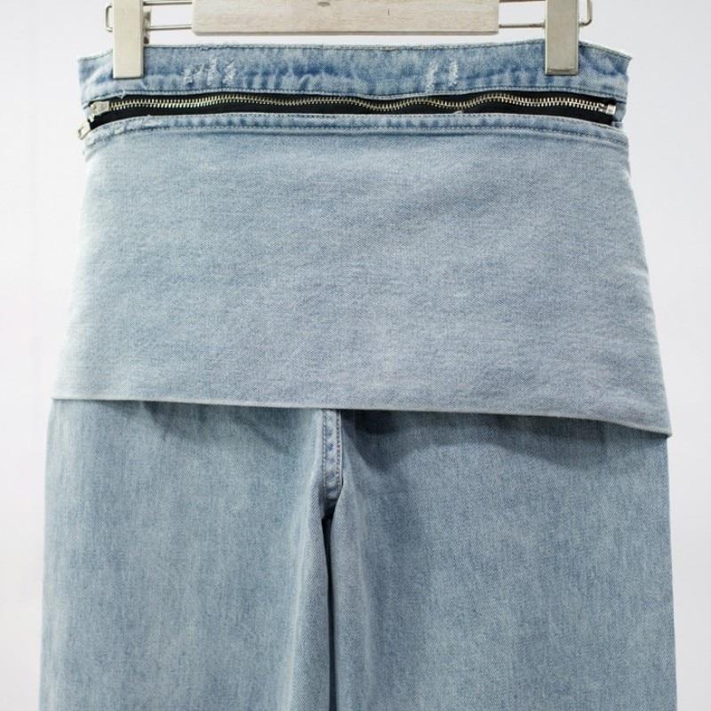 Haute Sarouel Marque Fit Femme Fermeture Jeans Bermuda Décontracté Lacets Denim De À Ami Mode Éclair Franges Lavé Blue Light Lâche Glands qrqfFTB7w