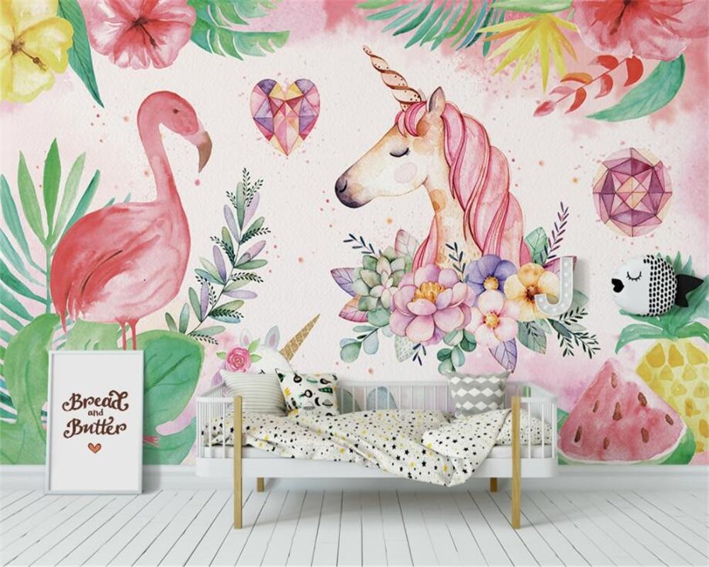 Купить с кэшбэком beibehang Custom High-quality Silk wallpaper flamingo unicorn children room decoration wall papel de parede 3d wallpaper mural