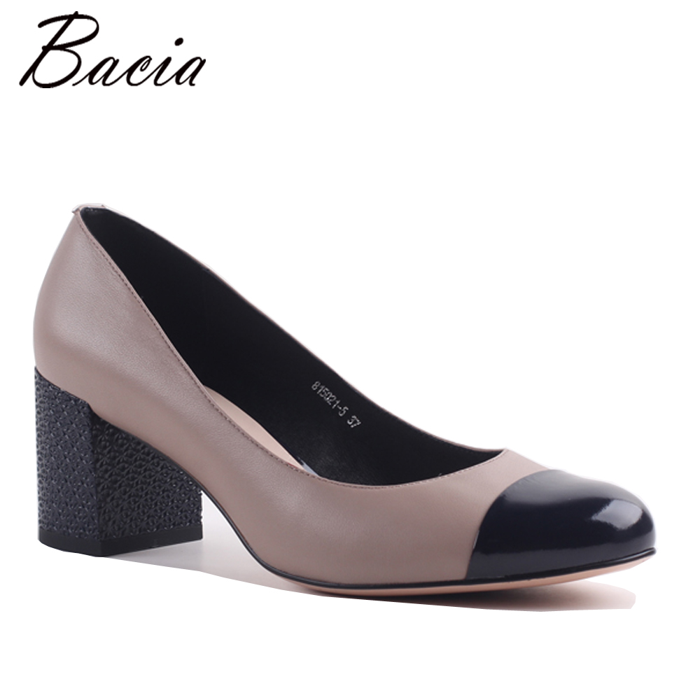 Bacia New Women Pumps shoes Square Heel Pointed Toe High-heeled Women Shoes Fashion Party Wedding Shoes Handmade Shoes MC030 2017 new summer women flock party pumps high heeled shoes thin heel fashion pointed toe high quality mature low uppers yc268