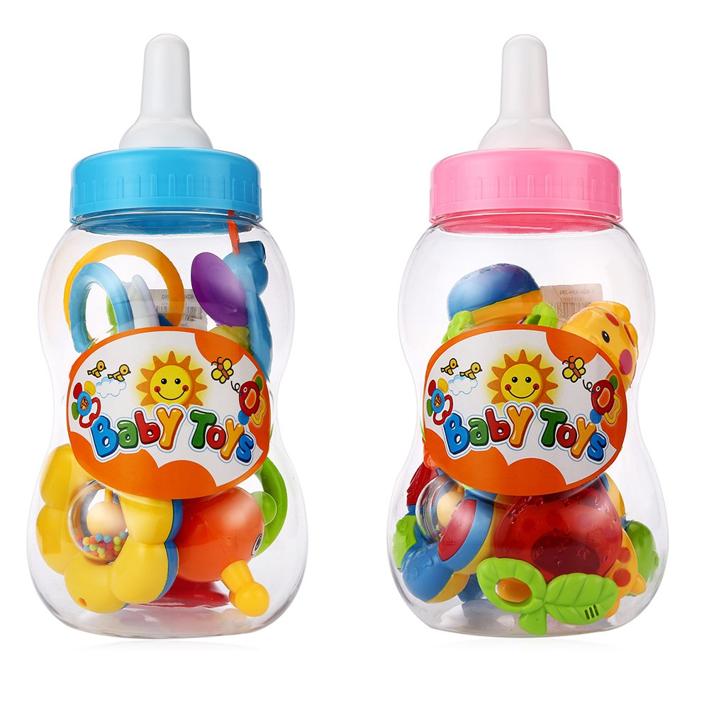 Plastic toy Mini Cartoon Baby Rattles Two Colors Baby Hand Shake Bell Ring Rattles Mobiles Feeder Educational Toy Set for Unisex