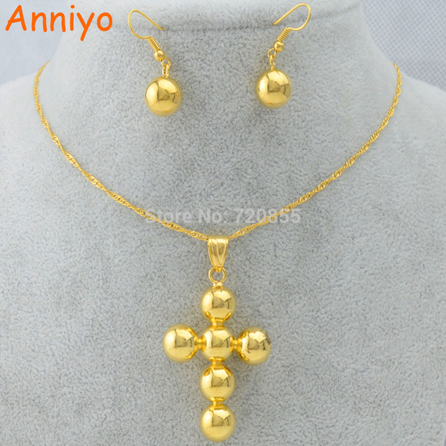 Anniyo Ethiopian Cross set Jewelry Pendant ChainEarrings Bead
