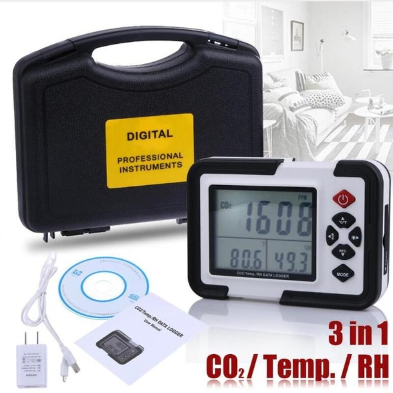 HT-2000 Digital CO2 Monitor Meter Multi-function Gas Analyzer Detector 9999ppm Analyzers With Temperature And Humidity Test