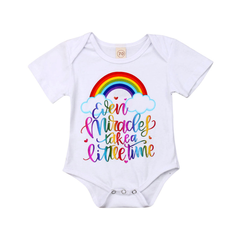 Cute Newborn Baby Boys Girls Rainbow Print   Romper   Jumpsuit Sunsuit Baby Cotoon Clothes