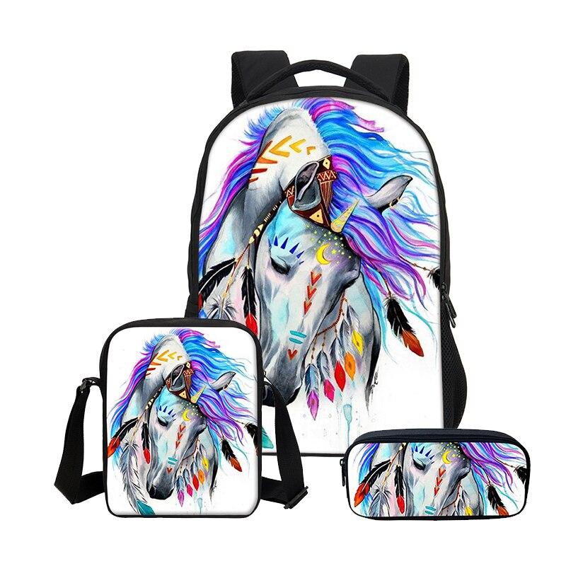 3198d40c1fb9 US $35.67 32% OFF|VEEVANV 3D Horse Printing Girls School Backpacks Fashion3  Pcs Set Children Cool Bookbags Women Laptop Shoulder Bags Boys Mochila-in  ...