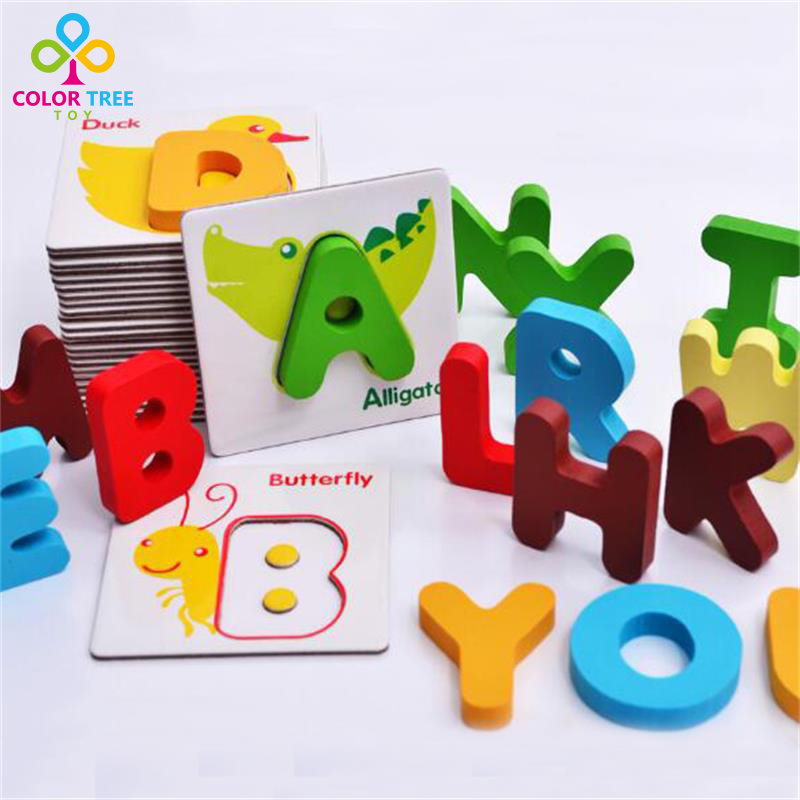 26pcs New Wooden Alphabet Letter Cards 3D Cognitive Toys Animal Puzzle Learning ABC Early Childhood Educational Toys hand grasp knob pegged puzzle wooden quality animals characters letter cognitive board children recognization toys