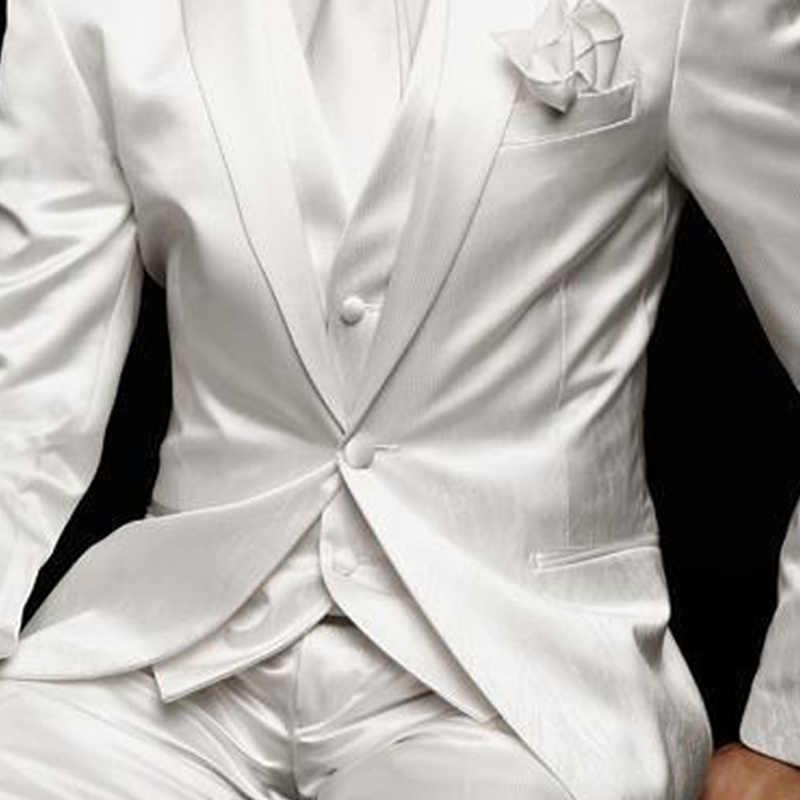 Traje blanco delgado para hombre para boda novio esmoquin 2019 fiesta de graduación satén personalizado 3 piezas hombre conjunto chaqueta pantalones chaleco ropa masculina