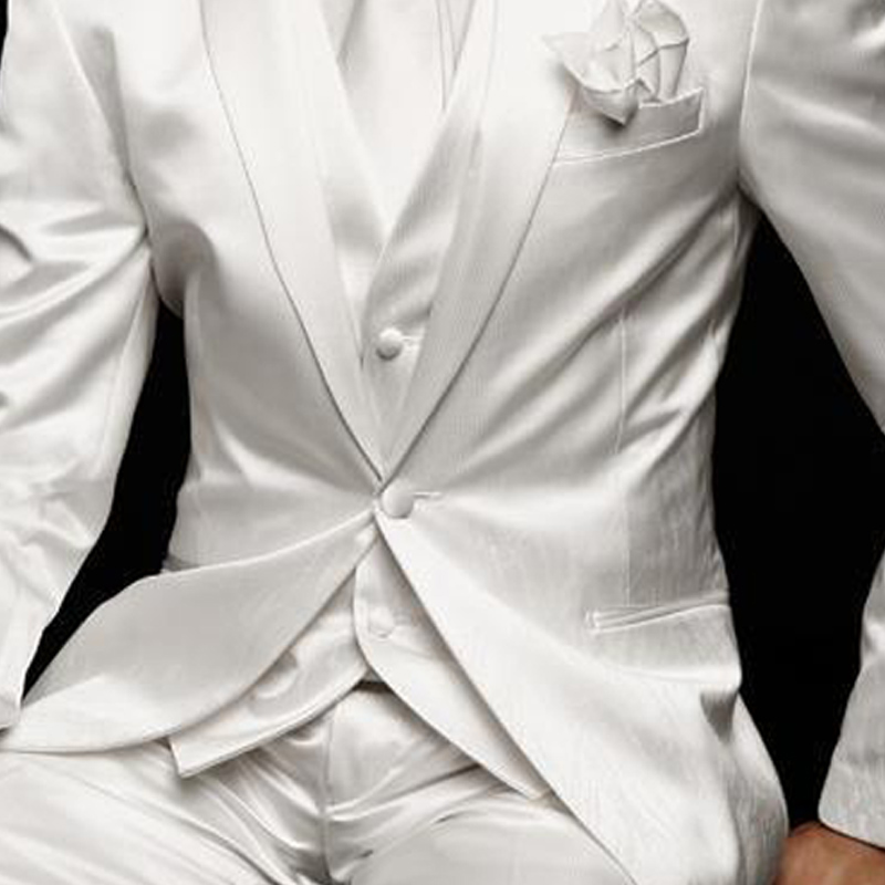 White Slim Fit Mens Suit for Wedding Groom Tuxedos 2019 Prom Party Custom Satin 3 Piece Man Set Jacket Pants Vest Male Clothes