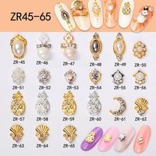 100PCS Rhinestone Alloy Nail Decoration shell-peal Moon Pineapple Shaped Gem 3D Nail Art Crystal Stone Nail Accessory#ZR45-65# цена