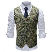 Fashion Floral Suit Vest Men Gilet Homme Wedding Sleeveless Slim Fit Single Buttons Waistcoat Spring Autumn Plus Size 5XL
