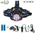 5000 Lumens CREE XM-L XML T6 LEVOU Caça Farol Lanterna Head Lamp Light + 2*18650 battery charger + + Carregador de Carro