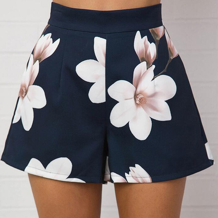 New Fashion Summer Floral Black Soft Cool Zipper   Shorts   Simple Casual Sexy Ladies Shopping Office Dresses   Short   Pants