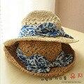 Новый летом существенно лен соломенная шляпа затенение рыбак лук стороны вязание крючком синий колпачок горшки вс шляпы для женщин шляпа женщина лето