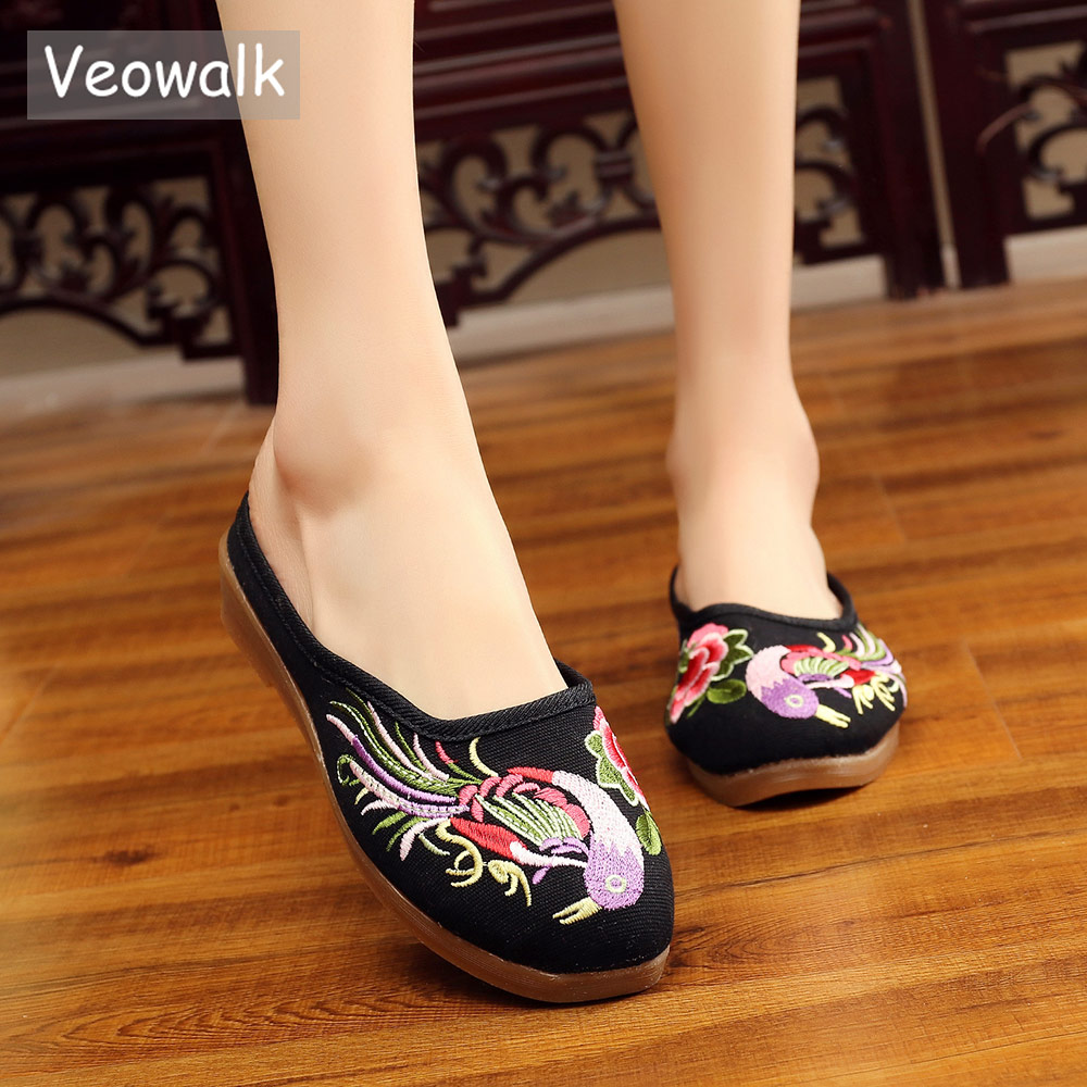 Veowalk Bird Embroidered Summer Women Cotton Fabric Flat Slippers Handmade Comfortable Ladies Casual Canvas Slip on Slides Shoes