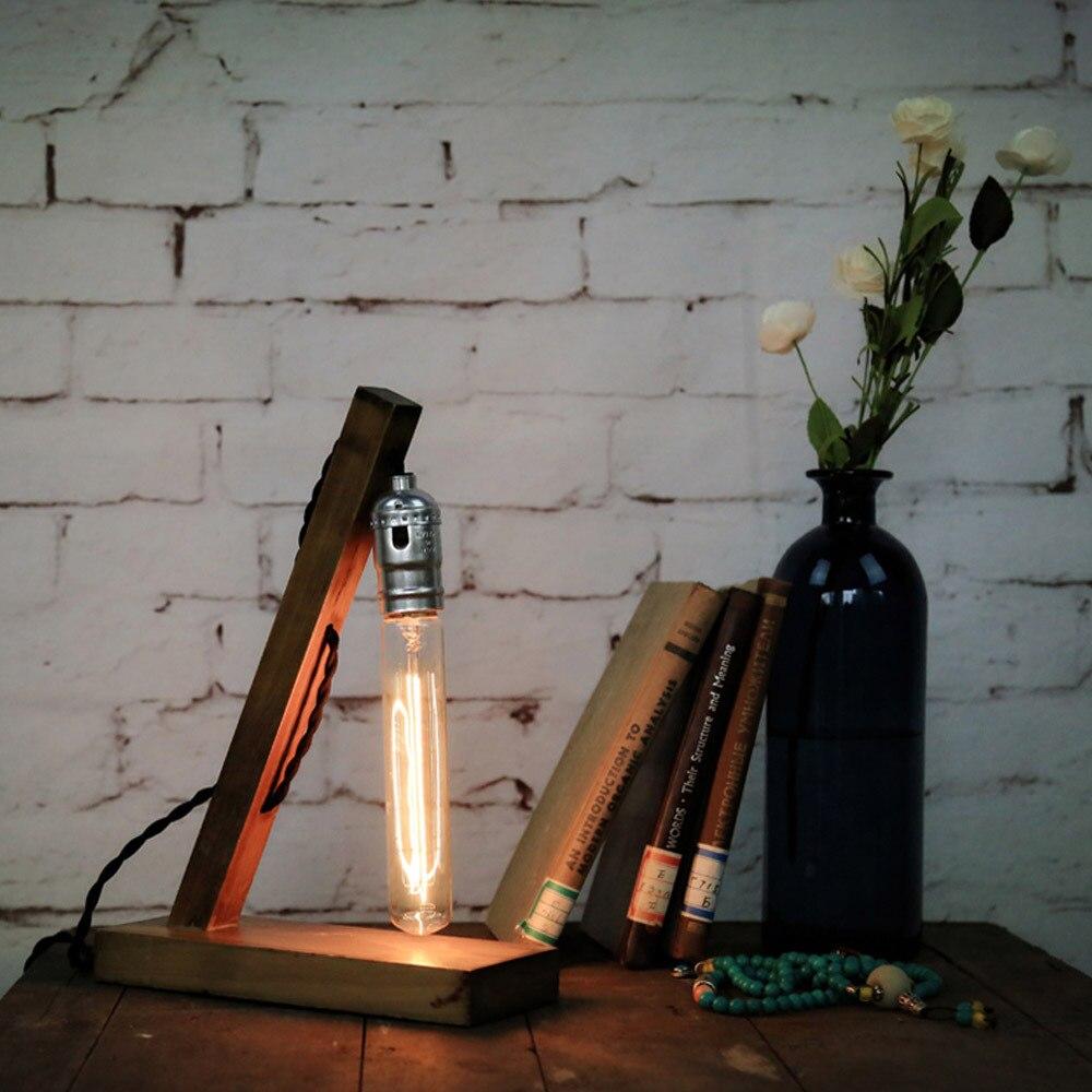 Creative industrial lamps - Loft Vintage Industrial Wood Base Table Lamp Loft Desk Reading Lamp Loft Home Decoration Bedroom Night