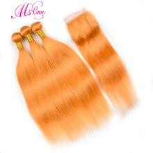 قبل الملونة البرتقال الشعر حزم مع إغلاق مستقيم 24 26 28 30 ريمي البرازيلي الشعر البشري 3 4 حزم مع إغلاق MS الحب