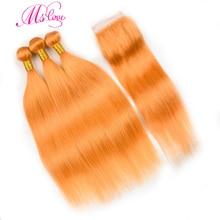 事前色オレンジクロージャー 4 ストレート 24 26 28 30 レミーブラジルの人間の毛髪 3 と 4 バンドル閉鎖 MS 愛