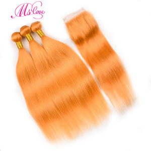 Image 1 - Pre colored orange hair bundles with closure 스트레이트 24 26 28 30 레미 브라질 인간의 머리카락 3 4 묶음 MS love