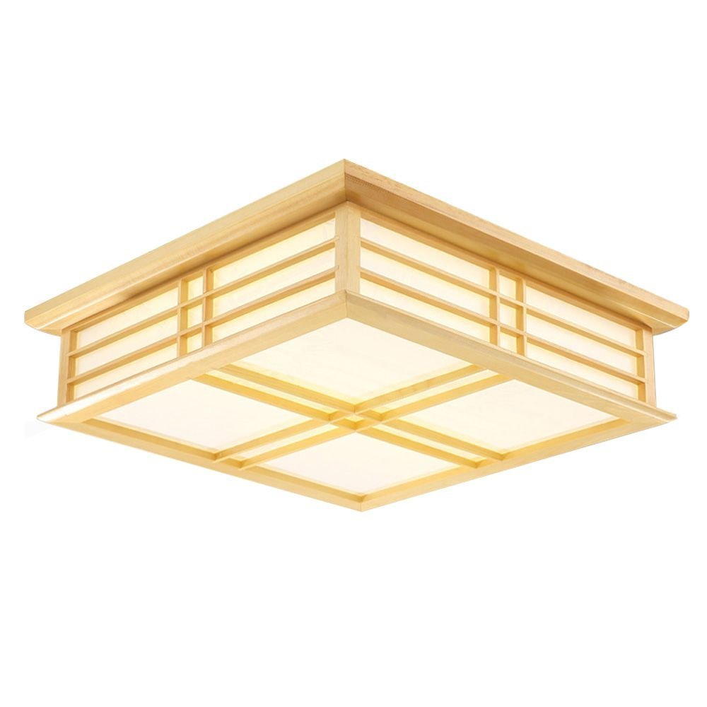 Japanese LED Wooden Frame Bedroom Ceiling Lamps Study Room Ceiling Light Living Room Restaurant Square Ceiling Lamp Fixtures