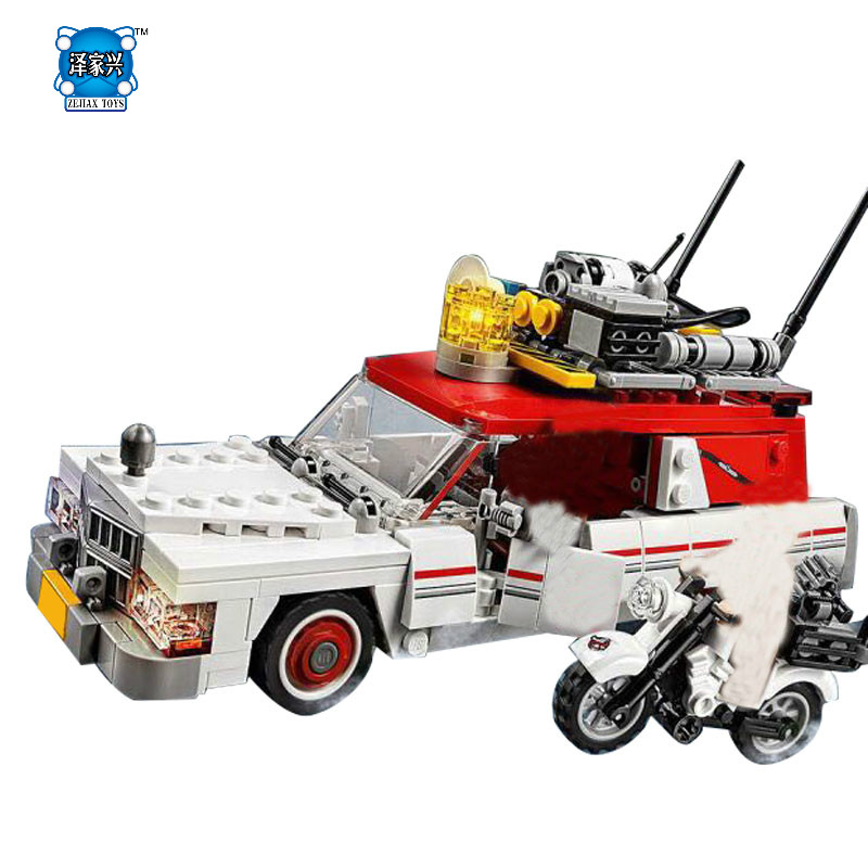 Lepins 586Pcs New Genuine Movie Series The Ghostbusters Ecto-1&2 Set Children Educational Building Blocks Bricks Figures Toys hot city series the new police station set children educational lepins building blocks bricks figures boy funny toys model gift