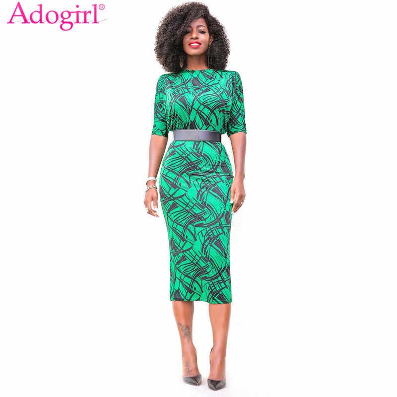 Adogirl Geometric Print High Waist Office Lady Summer Dress Elegant Slash  Neck Half Sleeves Pencil Midi 344f7a76f3e7