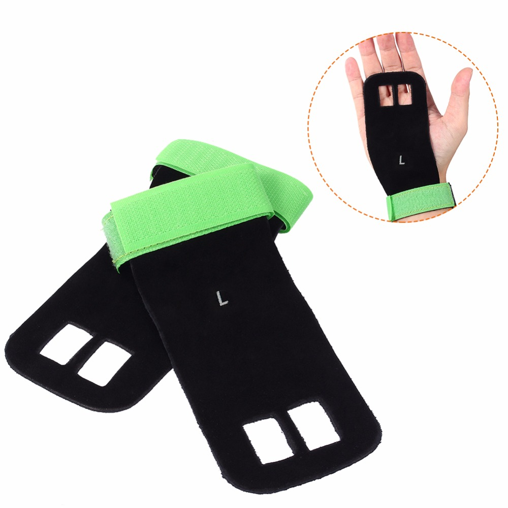 2PCs Gym Palm Support Bandage Sports Lifting Cuff Hand Wrist Grip Guard Palm Protectors Hand Brace Artificial Leather Gloves
