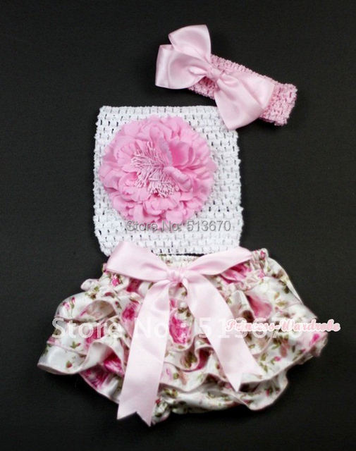 Rose Layer Panties Bloomers with Light Pink Bow, Peony White Crochet Tube Top and Light Pink Bow Headband 3PC Set MACT477