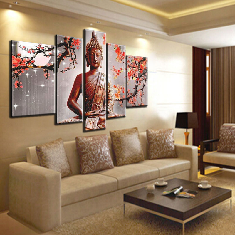 Handmade Large Modern Abstract Buddha Painting Red Plum Flower Wall ...