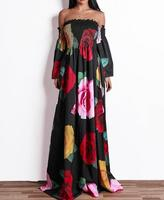 Vintage Women Autumn Maxi Dress Digital Floral Print Turtle Neck Short Sleeve Waist Belt Elegant Long Boho Dress