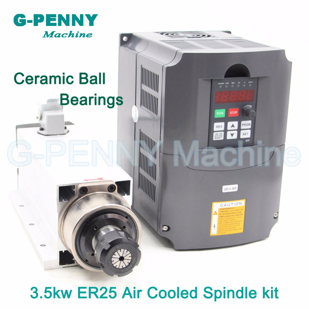 New ! 220V/380v 3.5KW 4bearings CNC Air Cooled Spindle Motor ER25 Air Cooling motor spindle ceramic ball bearing & 4kw inverter high quality ceramic bearings 3 5kw 380v air cooled spindle motor er20 and 4kw vfd inverter