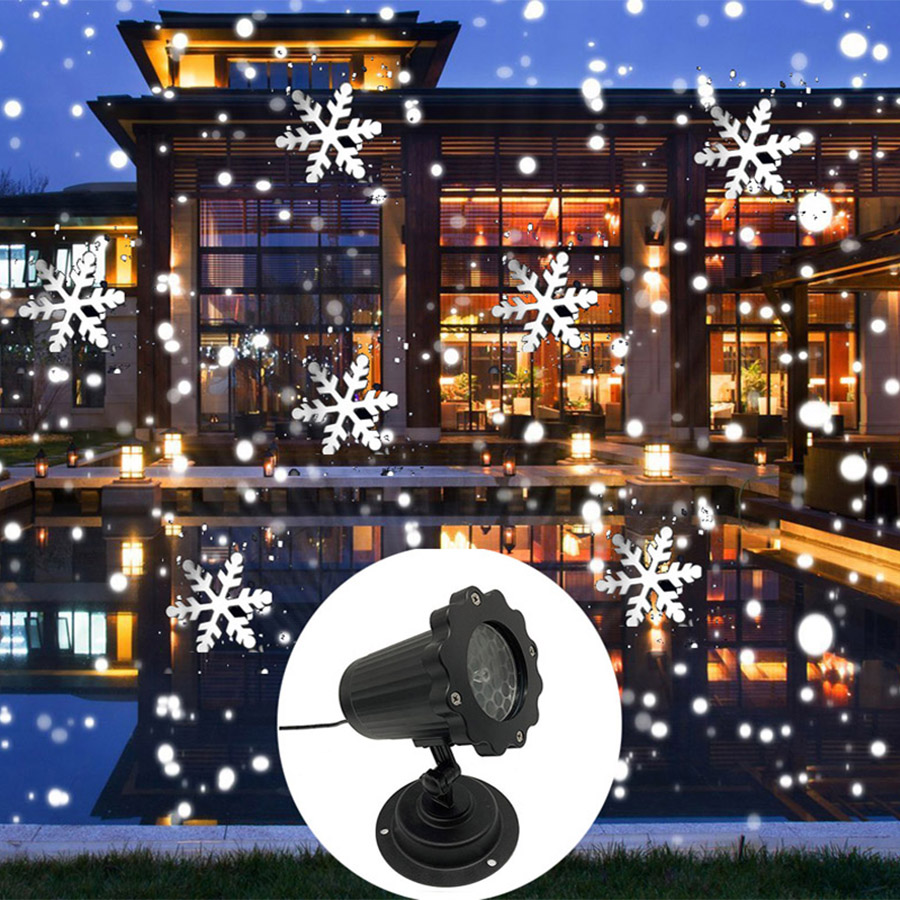 New Christmas Snowflake Laser Light Snowfall Projector IP65 Moving Snow Outdoor Garden Laser Projector Lamp For New Year Party недорого