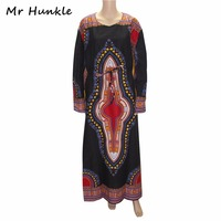Mr Hunkle Fashion Spring Autumn Kanga African Clothing Full Sleeve Sashes Dashiki Dress Loose African Dresses