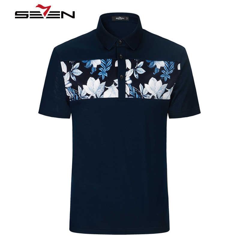 Seven7 marki koszulki Polo dla mężczyzn drukowane kwiatowy bawełna krótki rękaw mężczyzna Polo Slim Casual Hip Hop odzież męska 2019 112T58350