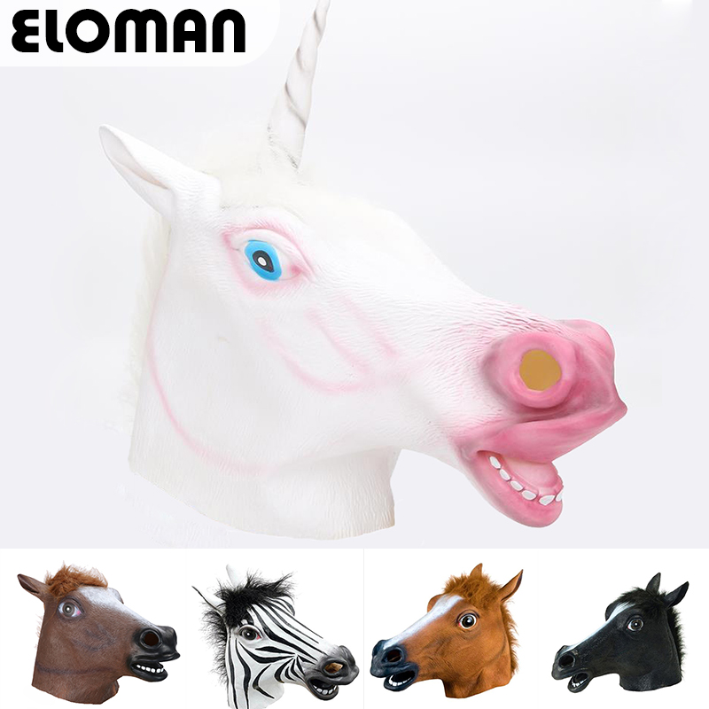 ELOMAN 100%Natural latex unicorn cosplay mask adult party super funny zebra horse head m ...