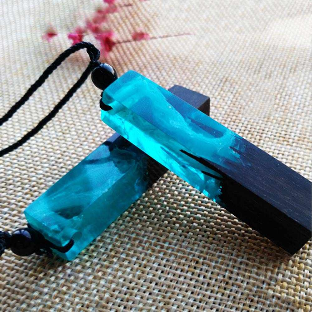 Wanita Handmade Resin Kayu Sweater Kalung Rantai Etnis BoHo Multicolor Smoke Gaya Resin Kayu Sweater Chain