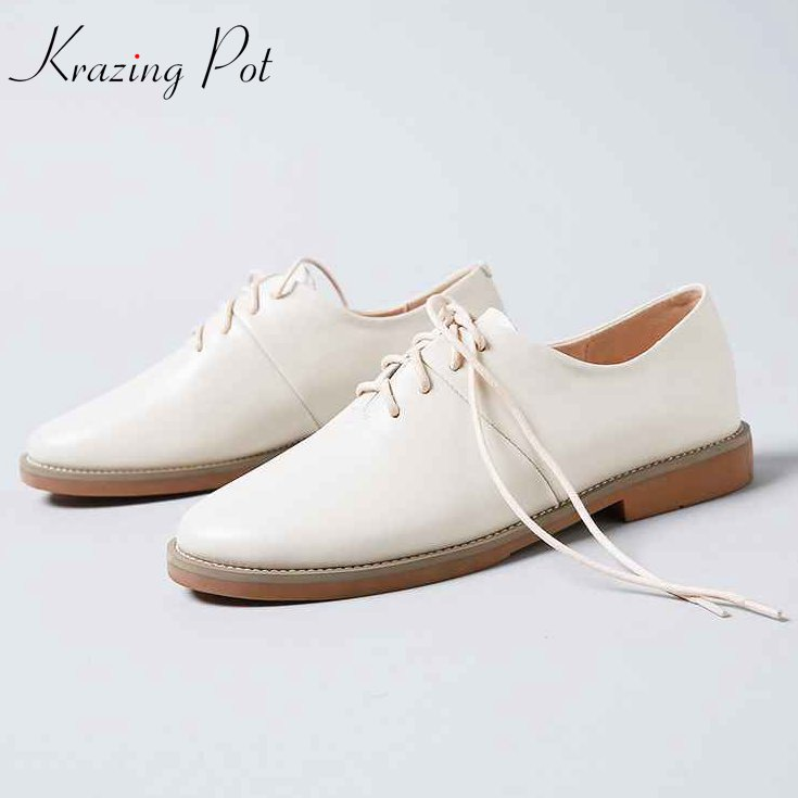 Krazing Pot 2018 classics cow leather shoes women round toe women low heels pumps superstar British preppy style soft shoes L72