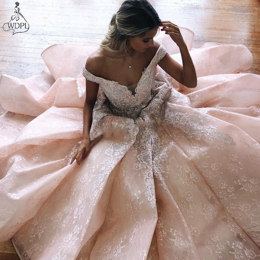 Hot Sale Lace   Prom     Dresses   Off The Shoulder Appliqued Beaded Party   Dress   A Line Floor Length Long Evening Gowns Formal   Dress