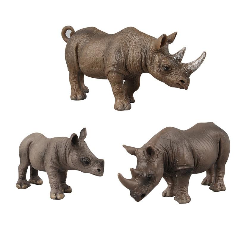 3 Kidns Simulation Rhinoceros Figure Collectible Toys Rhinoceros Wild Animal Action Figures Kids Animal Sandtable Scene Toy