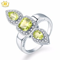Hutang Wedding Rings Natural Peridot and Similar Diamond 925 Sterling Silver Ring Brand Fine Fashion Gemstone Jewelry for Gift