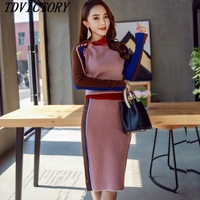 New 2019 Autumn Runway Two Piece Set Zipper Turtleneck Knitting Sweater and Bodycon Split Knee Length Skirt Women Suits