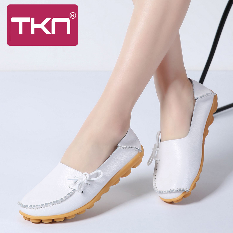 2019 Autumn Women Ballet Flats Shoes Genuine Leather Slip On Ballerina Mother Shoes Woman Loafers Mocassins Chaussures Femme 912