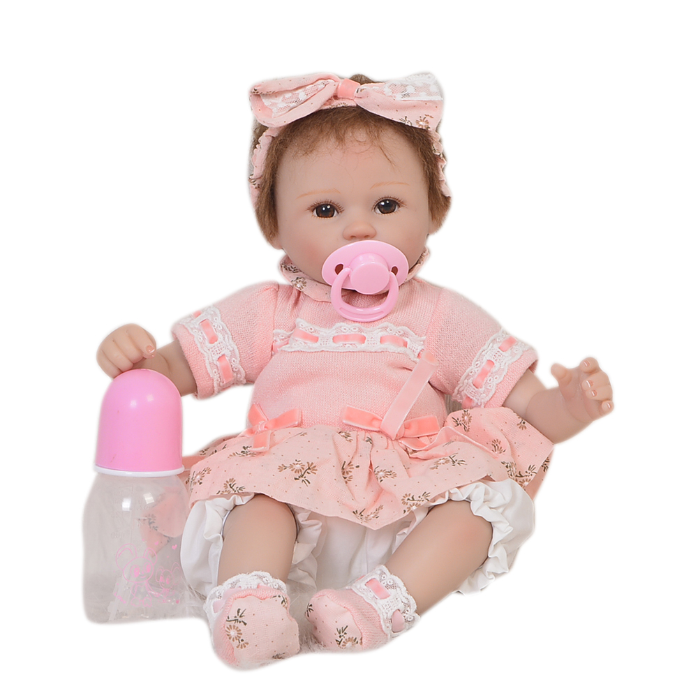 Фотография Cute Reborn Dolls Soft Silicone 18 Inch Newborn Baby Doll Collectible Babies For Kids Birthday Gift