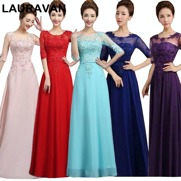 royal blue purple floor length chiffon a line   bridesmaid     dress   brides maid elegant long   dresses   2018 gowns free shipping