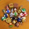 Super Mario Brothers Mario Luigi Mushroom Goomba Koopa Boo Mini PVC Figures Pendants Keychains 19pcs/set 2~5cm