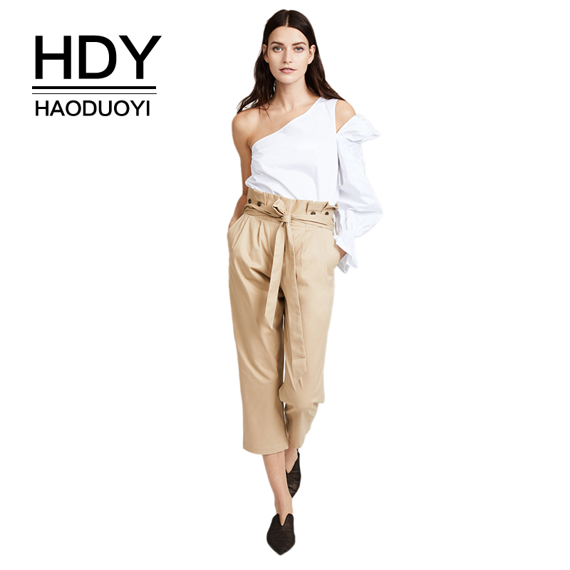 HDY Haoduoyi Women OL Solid Light Khaki Capri pants With Wasit Tie High Waist Button On Waist Seven Straight Trousers