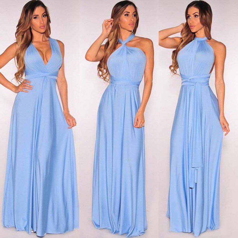 Halter bridesmaids dresses reviews online shopping halter winter sexy women maxi halter dress red bandage long dress sexy backless multiway bridesmaid convertible dress robe longue femme ombrellifo Image collections