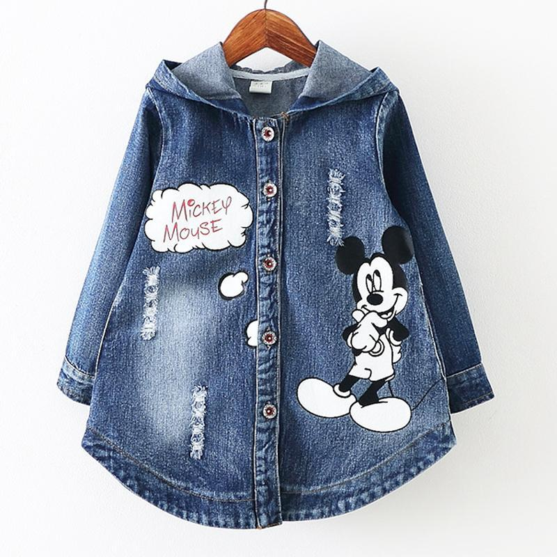 ФОТО 3-8Years/2016 Spring Autumn Baby Girls Jackets Kids Clothes Cartoon Denim Hooded Infant Coats Children Outerwear Clothing